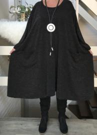 Carlie oversized A-lijn jersey glitter jurk apart (extra groot)stretch zwart