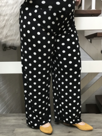 ITALIA jersey viscose broek apart zwart/wit