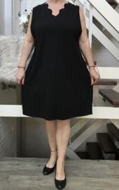 New Jersey viscose A-lijn jurk met aparte decolleté zwart