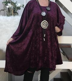Linda oversized A-lijn velours stretch tuniek/jurk  (extra groot)