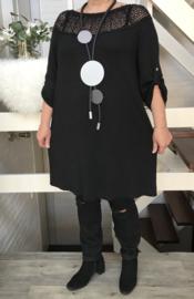 ITALIA  oversized jersey tuniek/jurk met kant /in meerdere kleuren