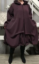 Moonshine gevoerde mantel/jas  ( extra groot) donkeraubergine