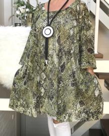 Doris oversized A-lijn KANTEN jurk/tuniek apart (extra groot) stretch