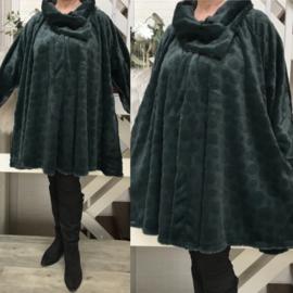 Clarice oversized zachte fake fur A-lijn jas/blazer  (extra groot)  apart donkergroen
