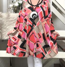 Olga oversized A-lijn tuniek/jurk met zakken apart (extra groot) stretch