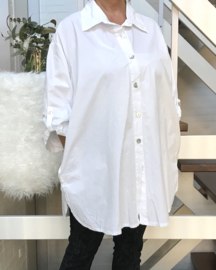 Moonshine  A-lijn katoen bluse/hemd met zakken stretch