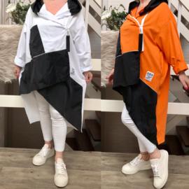 ITALIA  oversized joggingstof katoen jersey blazer met capuchon/in meerdere kleuren