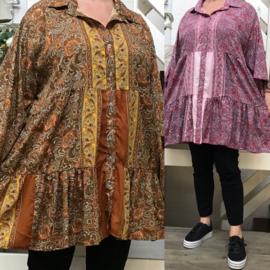 ITALIA zijde/viscose A-lijn tuniek/hemd  /in meerdere kleuren