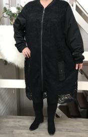 ITALIA  kanten blazer/jurk  zwart gevoerd