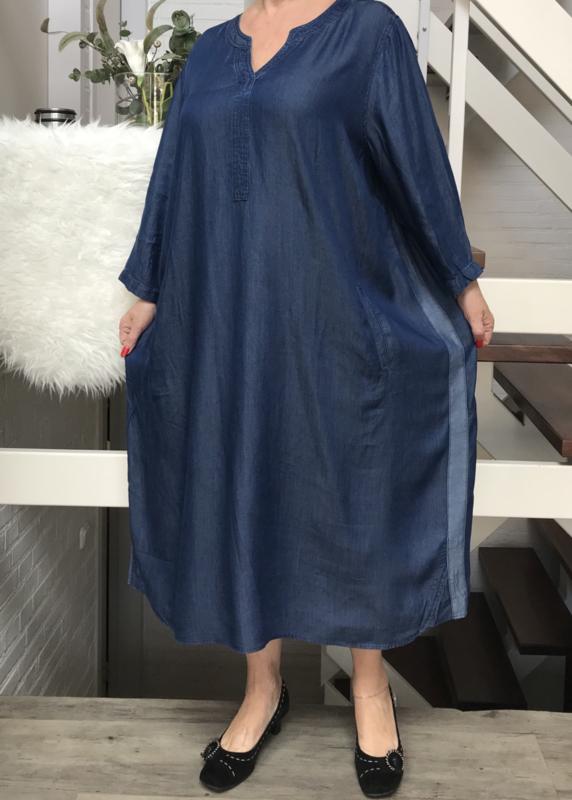 ITALIA tencel jeans jurk met bis