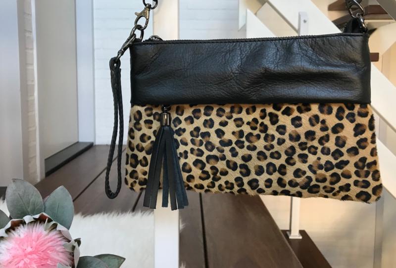 GENUINE LEATHER fashion tas met animal print