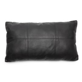 Kussen Natuurlijk 'The Six Leather Panel' Zwart 30x50cm