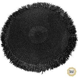 Vloerkleed Natuurlijk  'The Fringed Carpet' Zwart Rond Ø100