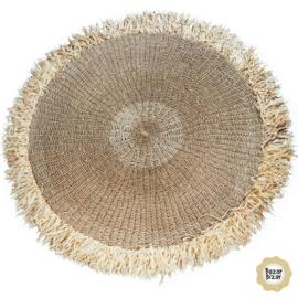 Vloerkleed Natuurlijk  'The Raffia Fringed Carpet' Natural Rond Ø100