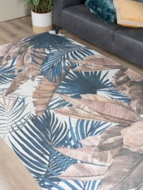 Vloerkleed Botanisch 'Palm' Blauw