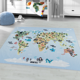 Vloerkleed VKW United Colors 'Kids Story Atlas' Blauw