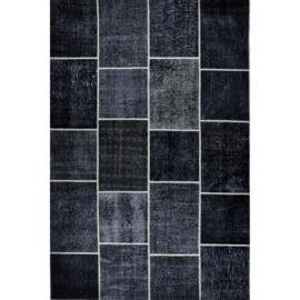 Vloerkleed VKW Prestigieux Patchwork 'Harmoni' Zwart/Olijf 300x200cm