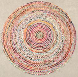 Vloerkleed Natuurlijk 'Jaipur Klassiek' Natural/Multikleur Rond