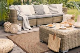 Vloerkleed Outdoor/Indoor 'Antigua Sandy-Beach Bordüre Cognac' Zand/Bruin