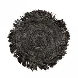 Raffia Placemat Natuurlijk 'The Fringe' Zwart Rond 45x45cm