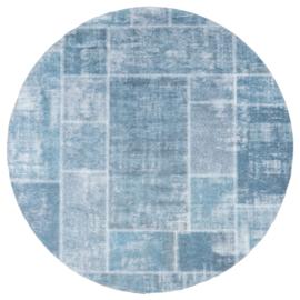Vloerkleed Patchwork 'Mijnen' Grijs/Blauw Rond