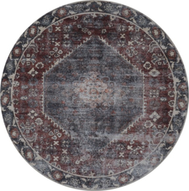 Vloerkleed Vintage 'Madel' Rood/Blauw Rond