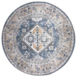Vloerkleed  Vintage 'Laria Blue 4' Blauw Rond
