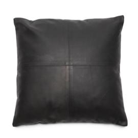 Kussen Natuurlijk 'The Four Leather Panel L' Zwart 60x60cm