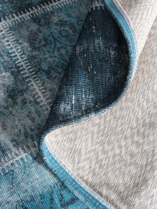 Vloerkleed Patchwork 'Mijnen' Turquoise Rond