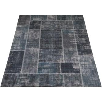 Vloerkleed Patchwork 'Mijnen' Grijs/Blauw