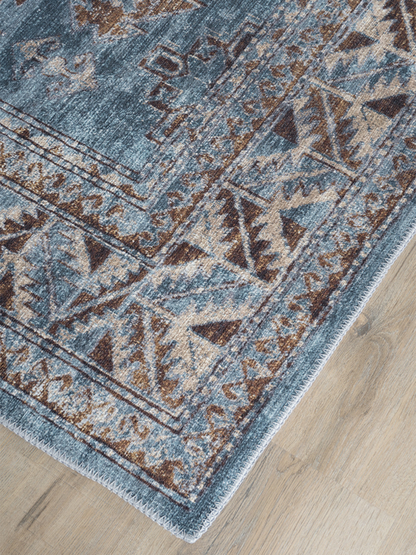 Vloerkleed Vintage 'Laria' Blauw/Bruin