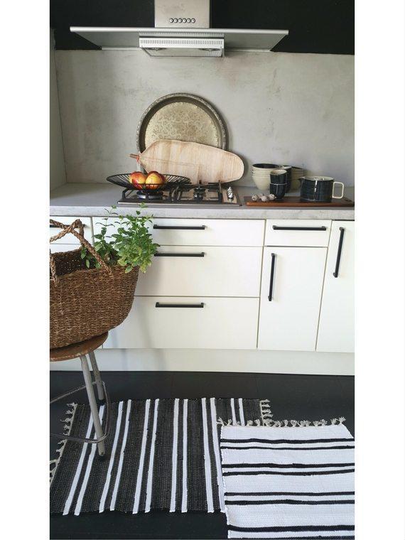 Vloerkleed Scandinavisch 'Anhui' Wit/Zwart 60x90cm