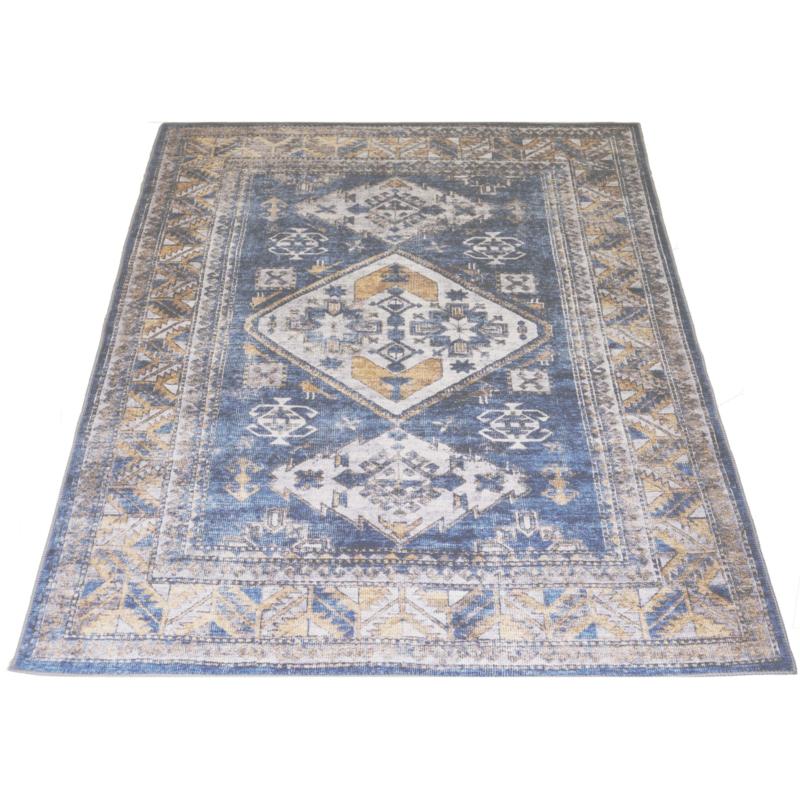 Vloerkleed Vintage 'Laria' Blauw/Beige