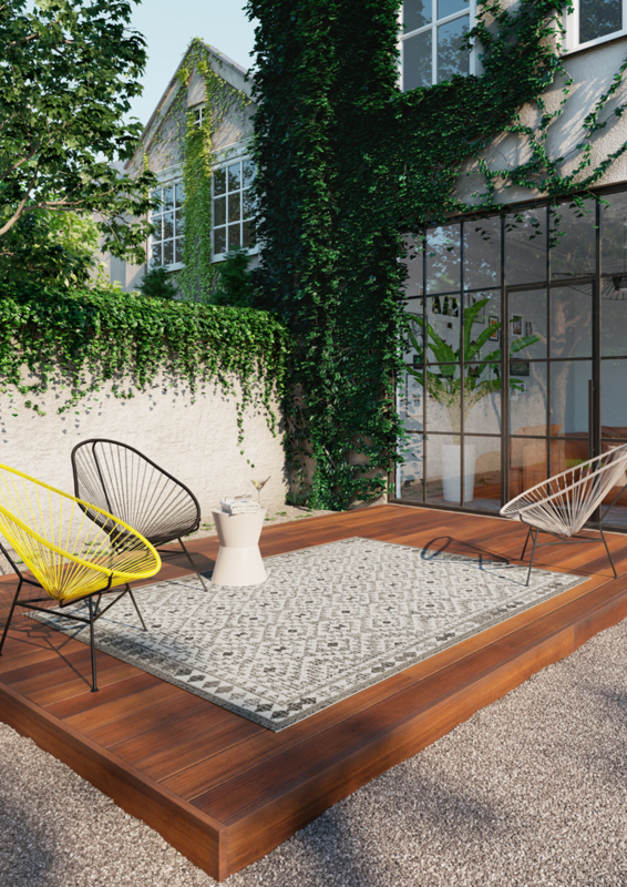 Vloerkleed Outdoor/Indoor Vintage 'Kopenhagen'  Grijs 160x230cm