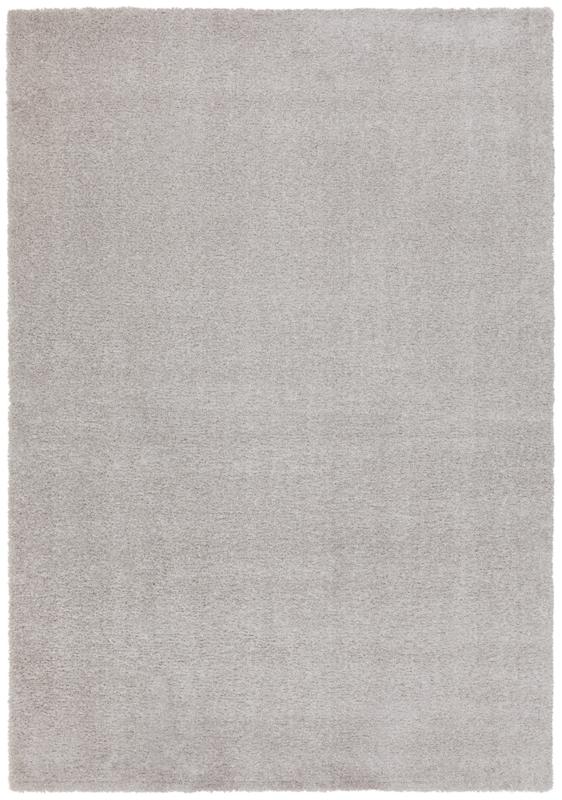 Vloerkleed Effen Hoogpolig 'London' Zilver 160x230cm