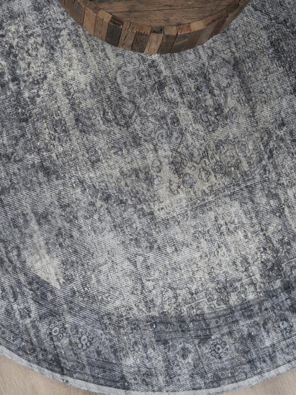 Vloerkleed Vintage 'Madel' Grijs Rond