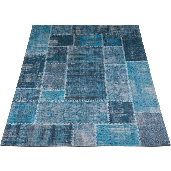 Vloerkleed Patchwork 'Mijnen' Turquoise