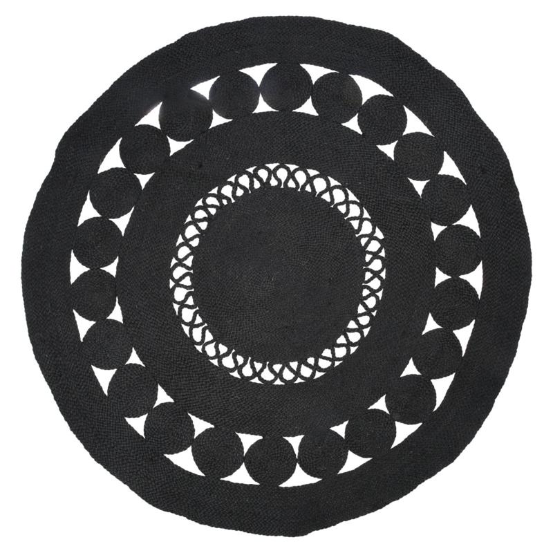 Vloerkleed Natuurlijk 'Hatiya' Zwart Rond Ø150