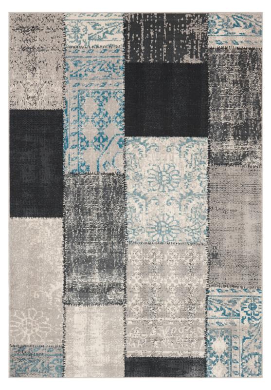 Vloerkleed Patchwork 'Milano' Zwart/Blauw