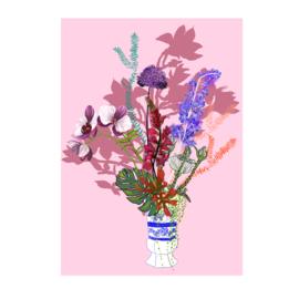 bloemen in het blauw poster(29x40cm)