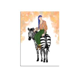postkaart groot, meisje met zebra