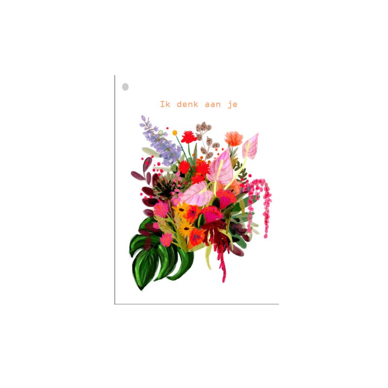 mini kaartje ik denk aan je bloemen (per 10)
