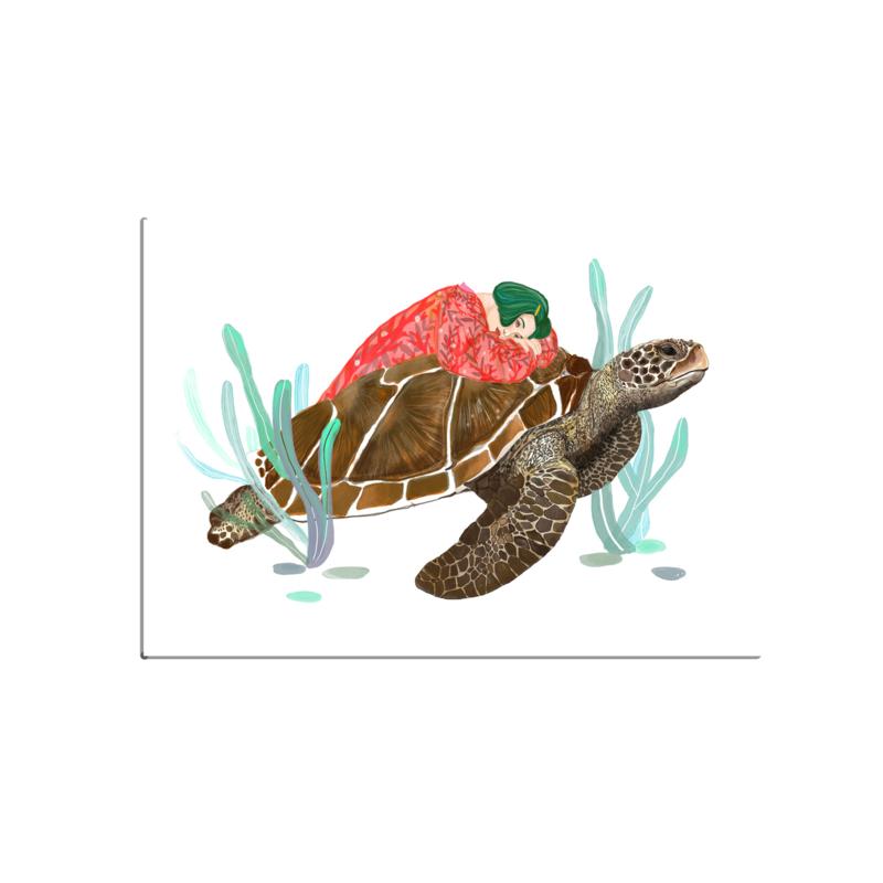 postkaart groot, meisje met schildpad