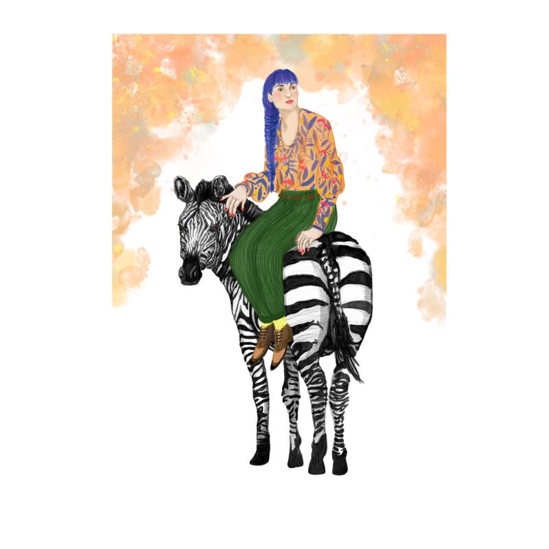meisje met zebra (20x28cm)