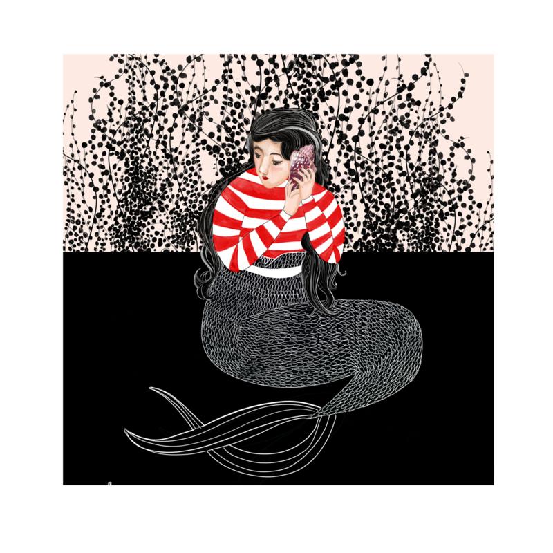 zeemeermin print (20x20cm)