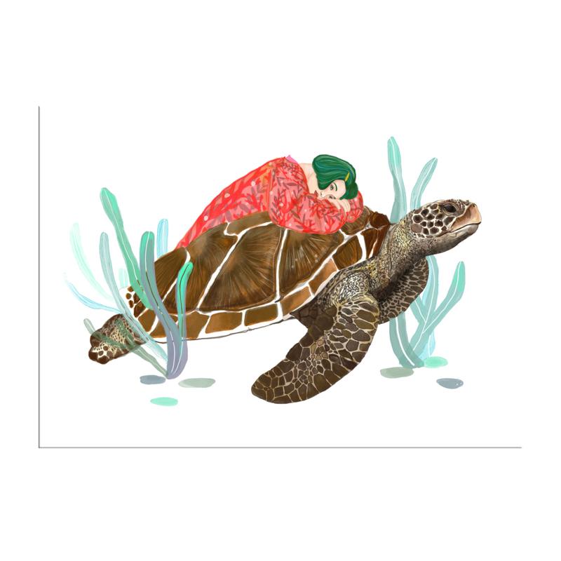 meisje met schildpad (20x28cm)
