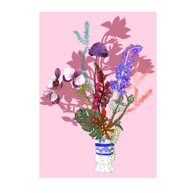 bloemen in het blauw print (20x28cm)