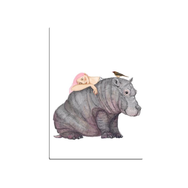 postkaart groot, meisje met nijlpaard