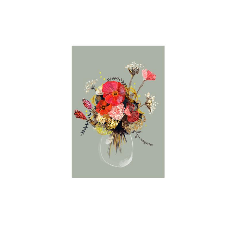 postkaart bloemenvaas