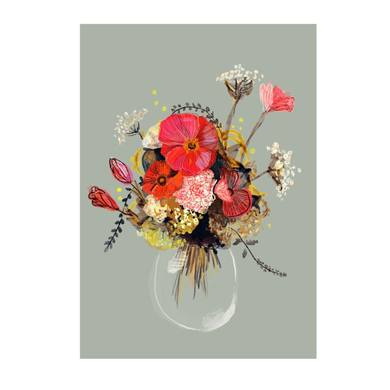 bloemig vaasje print (20x28cm)